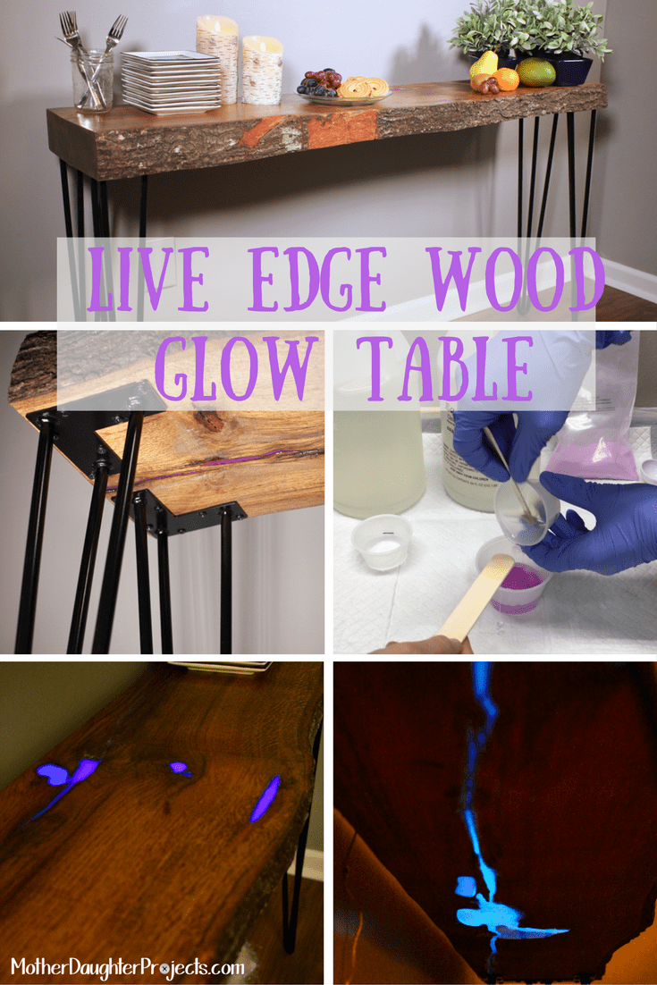 Live Edge Wood GLOW Table. MotherDaughterProjects.com