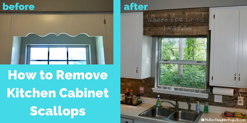 cover scalloped wood valance over kitchen sink mother daughter projects - How To Remove A Kitchen Sink