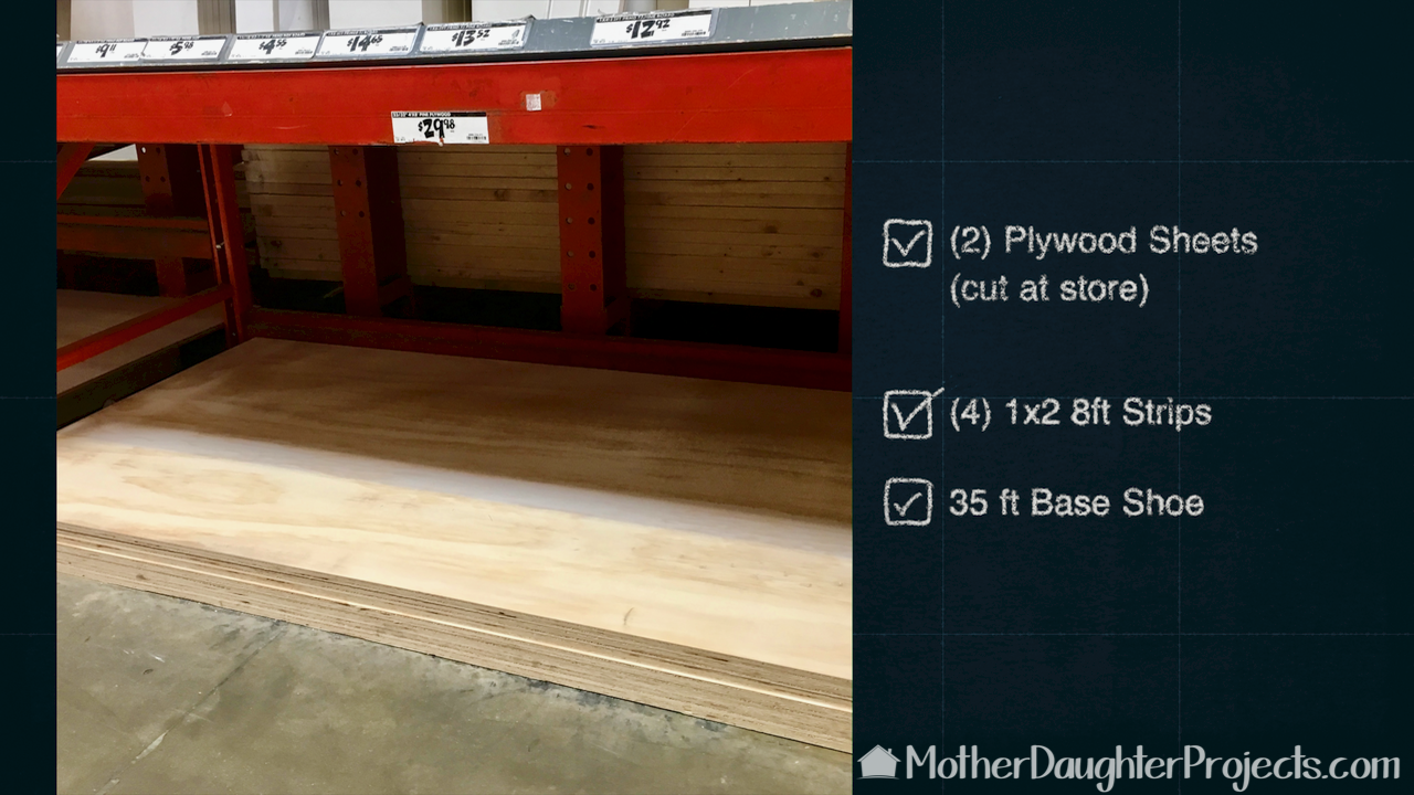 Learn how to make floating shelves for a hallway closet. Each shelf uses plywood, 1x2 strip wood and quarter round.