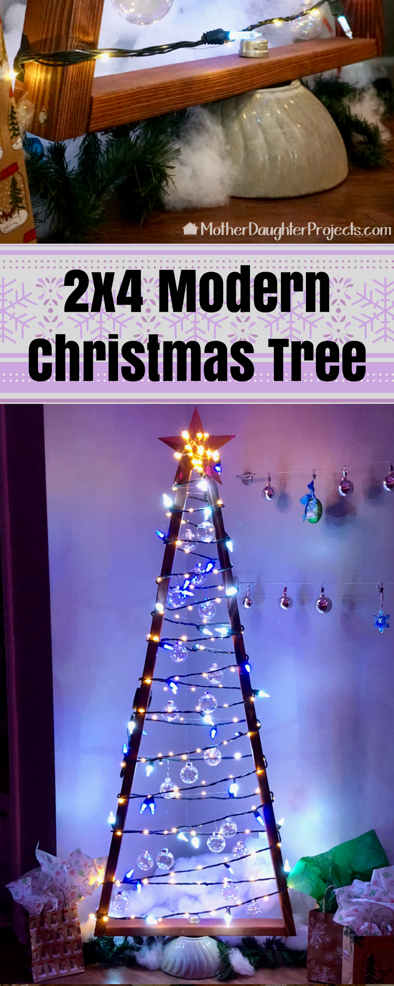 Learn how to use simple 2x4 wood to make this modern and rustic Christmas tree for the holidays. Great for smart Christmas lights, fairy lights and more! All complete with a quikete concrete base.