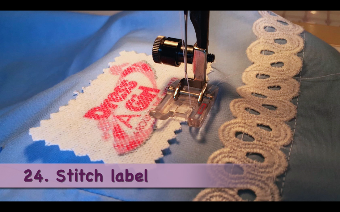 How to Make a Pillowcase Dress: Step 24, add Dress a Girl label. MotherDaughterProjects.com