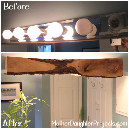 Wood cover for bathroom light fixture. MotherDaughterProjects.com