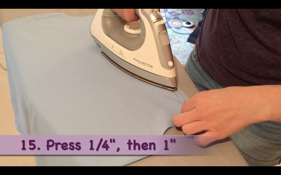 How to Make a Pillowcase Dress: Step 15, Creating the front & back top casing by pressing down 1/4 inch then 1 inch. MotherDaughterProjects.com