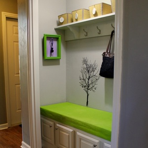 Hall closet turned functional mudroom or landing zone. MotherDaughterProjects.com