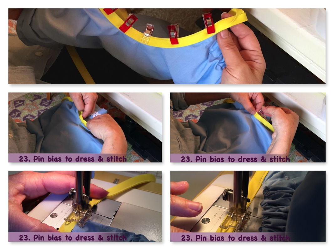 How to Make a Pillowcase Dress: Step 23, pin or clip bias to armholes & stitch. MotherDaughterProjects.com