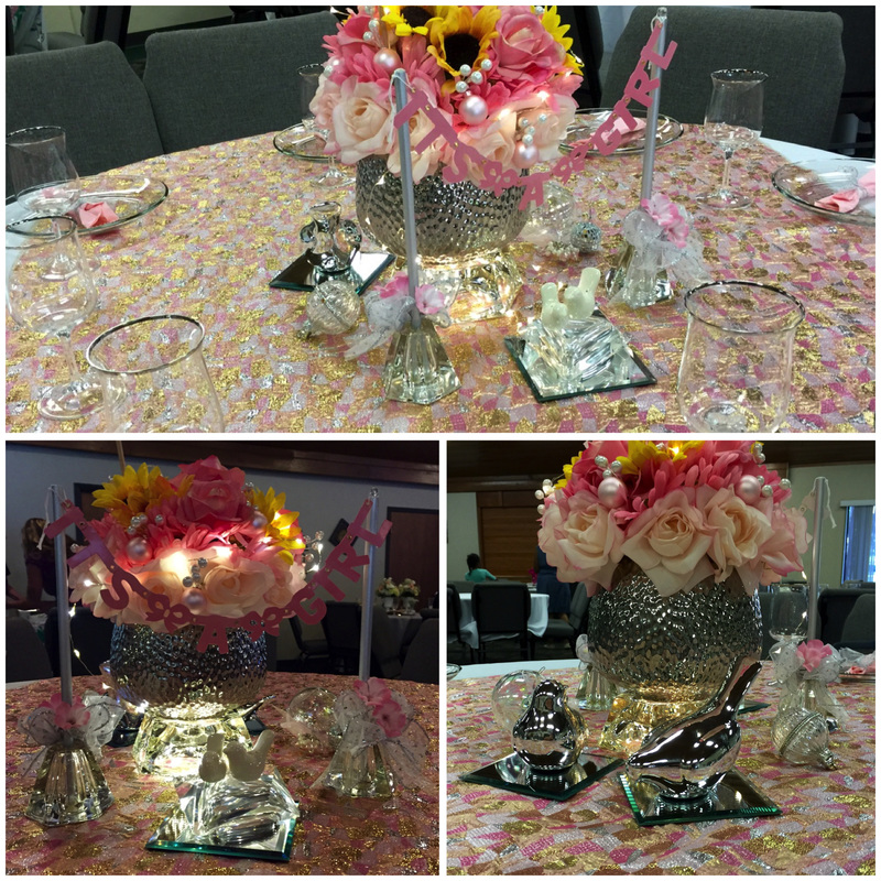 Table decor--all pink & sparkly--for a Mother/Daughter Banquet. MotherDaughterProjects.com
