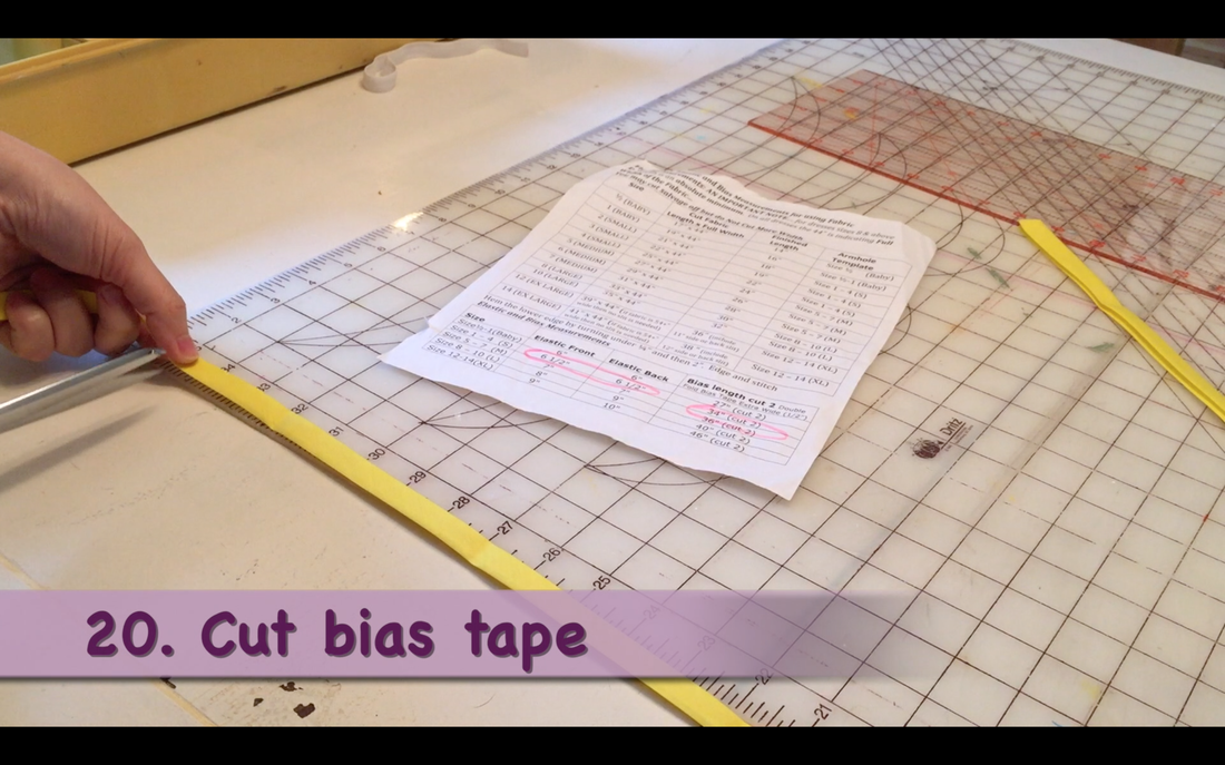How to Make a Pillowcase Dress: Step 20, measure & cut bias tape. MotherDaughterProjects.com