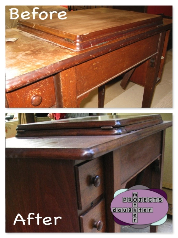 Restoration of a mid-century Singer sewing machine cabinet. MotherDaughterProjects.com