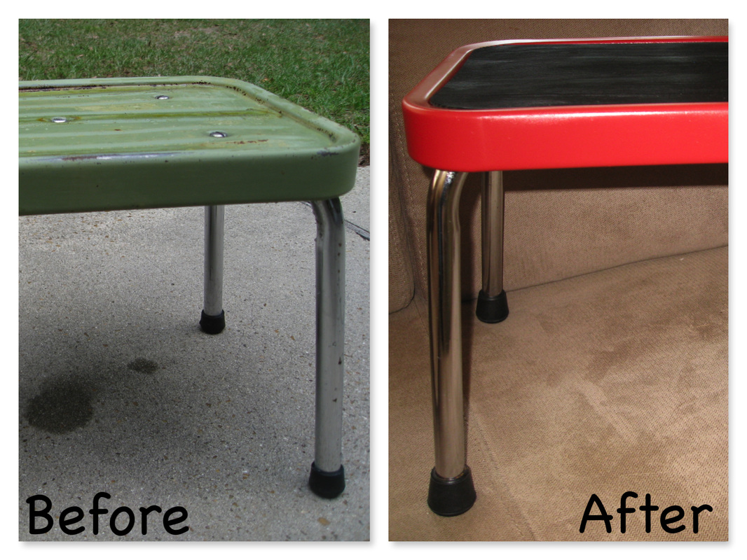 A well worn mid-century bathroom stool gets a new coat of pain, shined up chrome, and new rubber feet. It's ready for another generation of kids. MotherDaughterProjects.com
