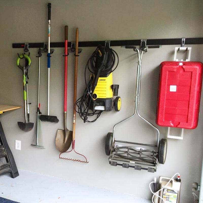 Garage organization with Rubbermaid FastTrack system--the finished result. MotherDaughterProjects.com