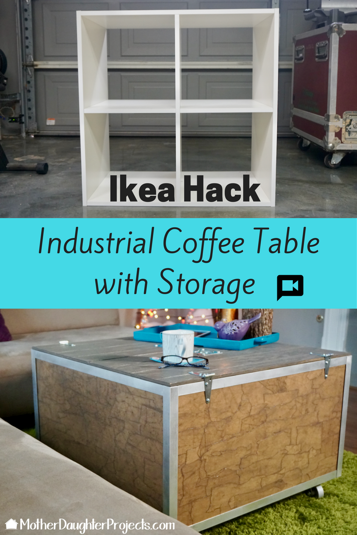 Video tutorial on taking an Ikea Kallax bookcase and turning it into an industrial coffee table.
