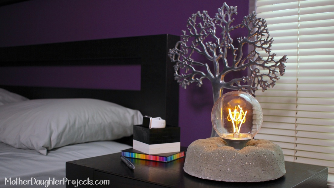 Concrete Light Bulb Lamp. MotherDaughterProjects.com