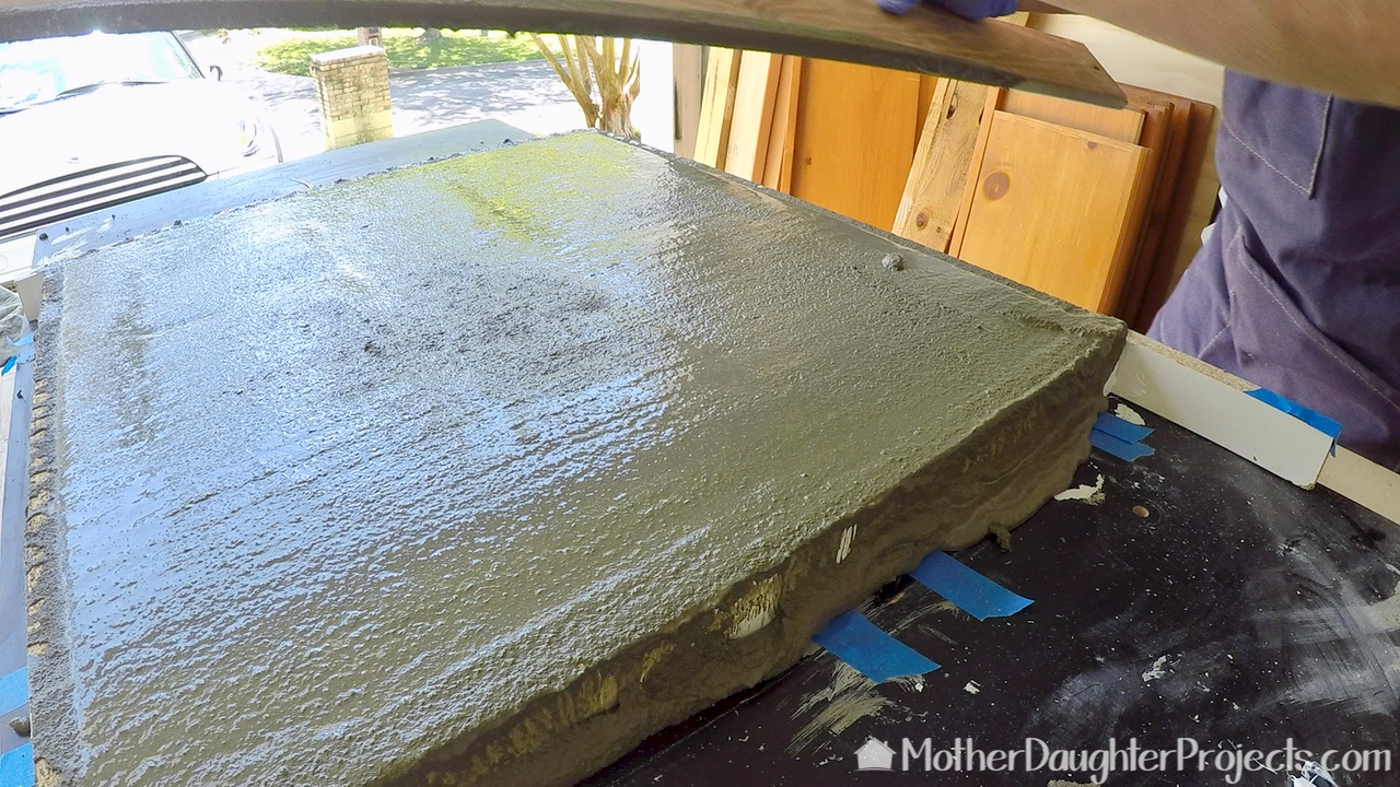 Learn how to cast concrete into a melamine mold to make an outdoor bench seat. We're using Quikrete countertop mix.