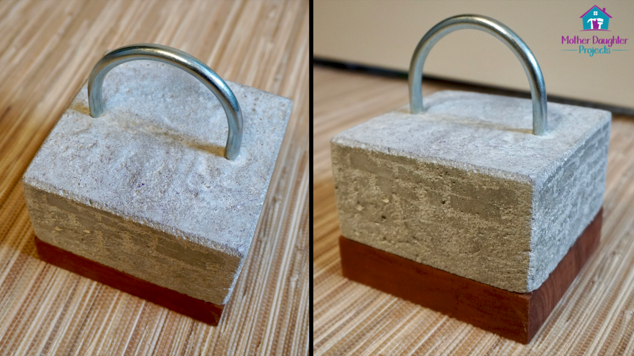 Learn how to use concrete, cement or mortar mix to make a modern door stop. Lego bricks make a perfect mold for this DIY,