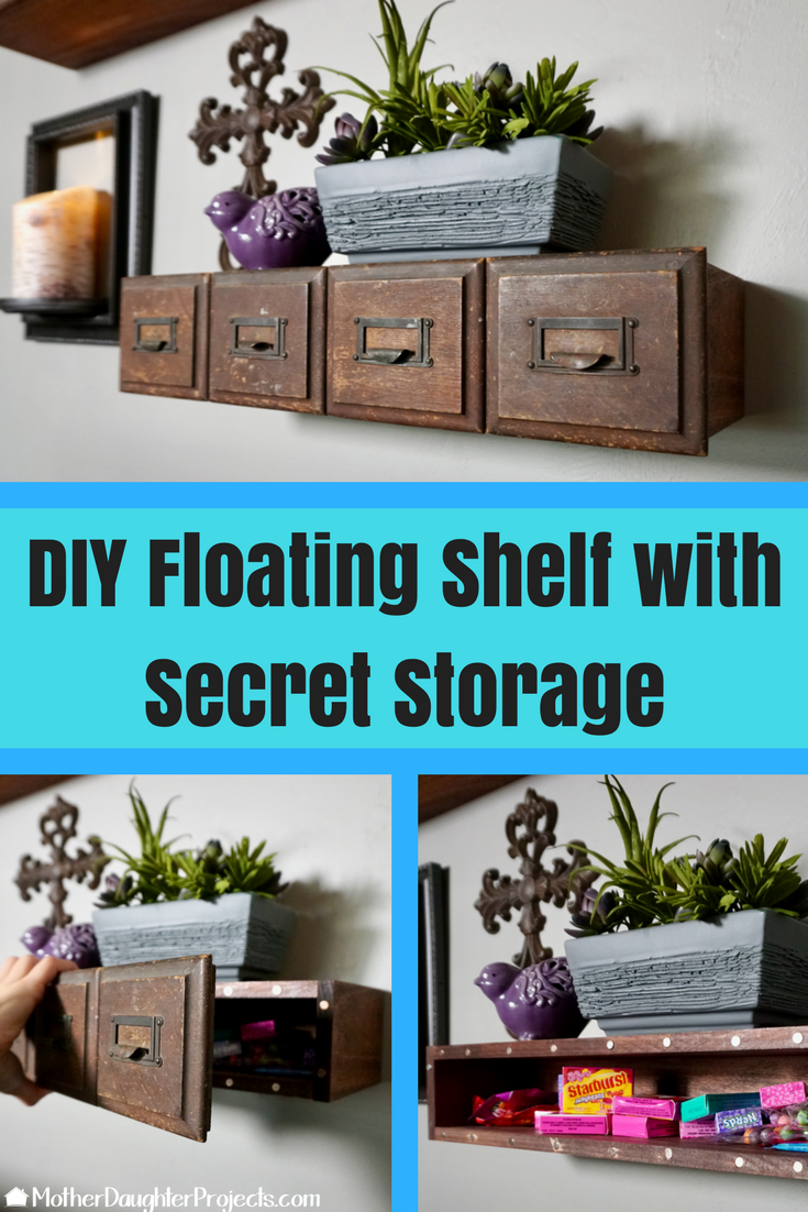 Video tutorial! How to make a floating shelf with unique front and added hidden storage!