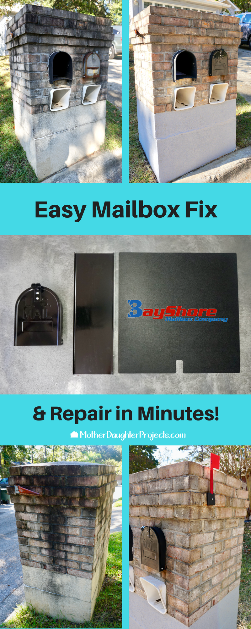 Watch the video to learn how to repair and replace your broken or rusty metal mailbox in minutes! #sponsored #bayshoremailboxco