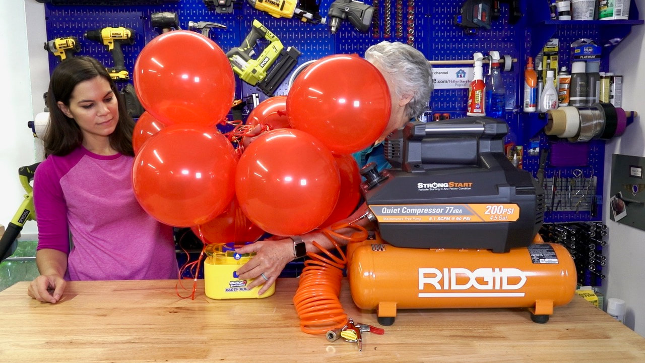 Using the Bunch o balloons party pump to inflate 8 balloons in 40 seconds.