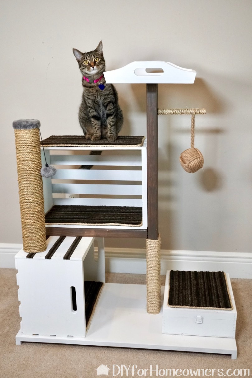 Finished picture of the wood crate cat condo/tree/tower.