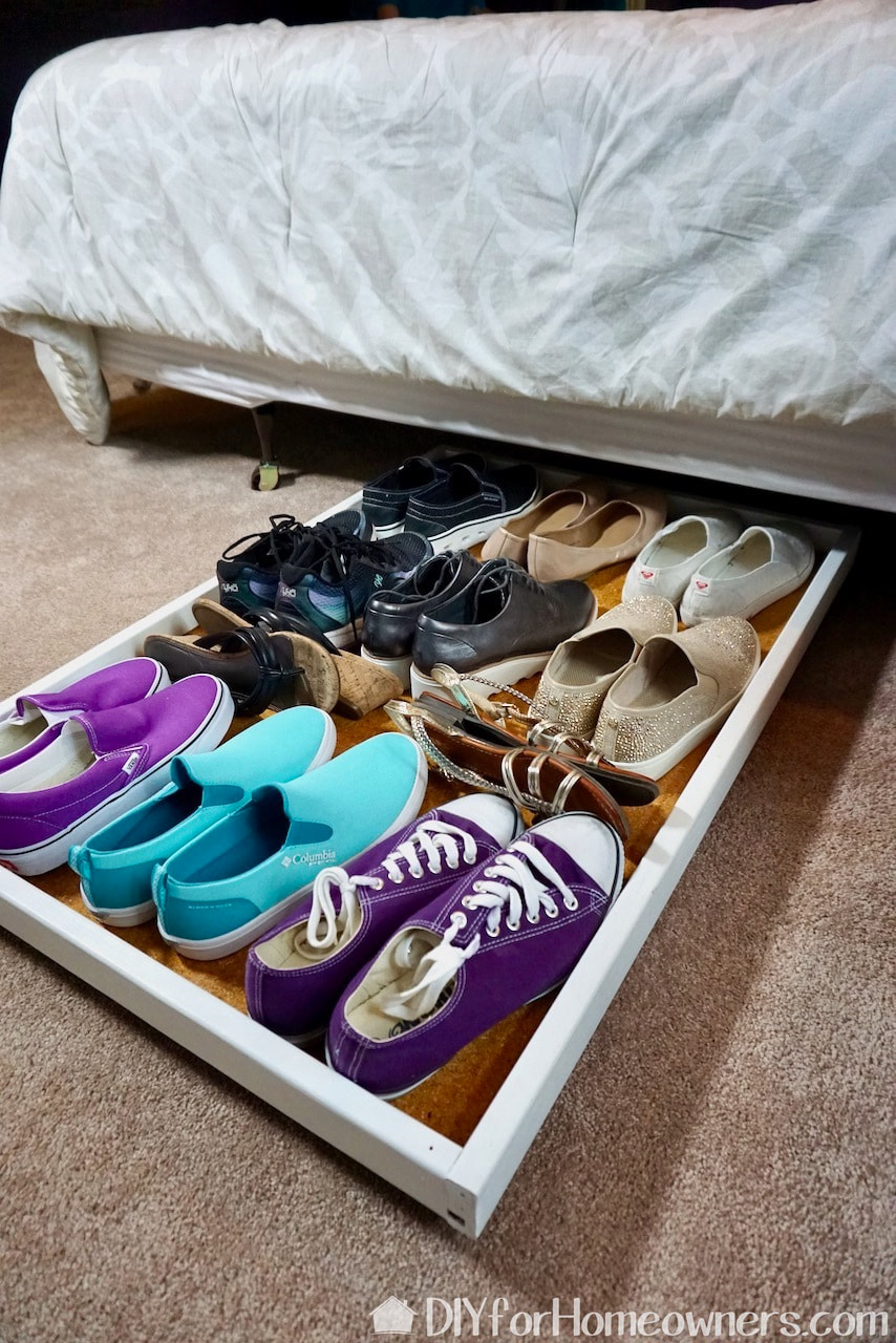 This roll out under the bed shoe storage makes use of unused storage space.