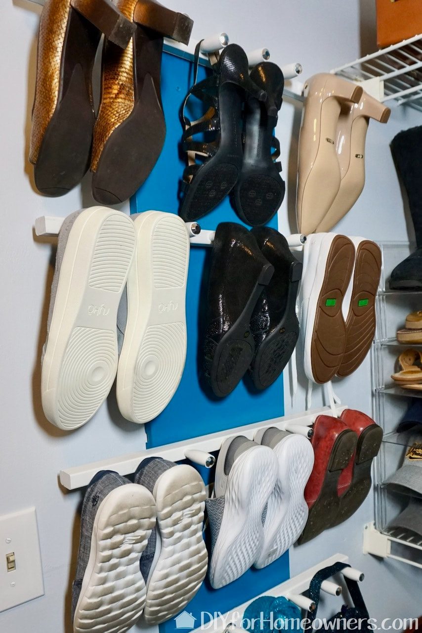 Two shoe storage solutions make from the same old baby crib parts.