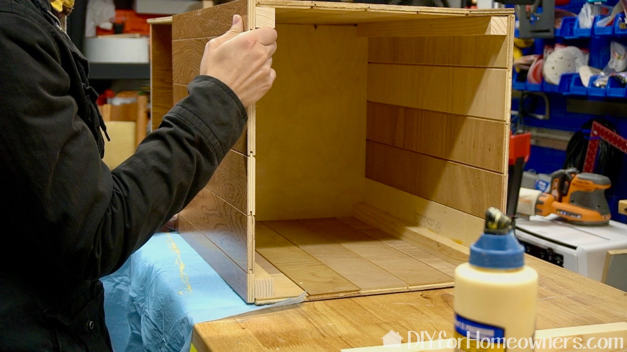 Glueing the panels into place with Titebond wood glue.