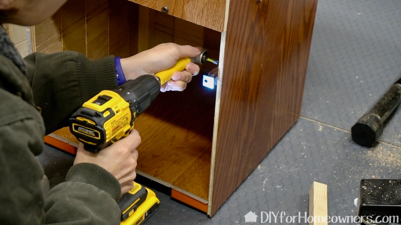 DeWalt Max Fit Right Angle Adaptor is perfect for adding the hardware to the storage space.