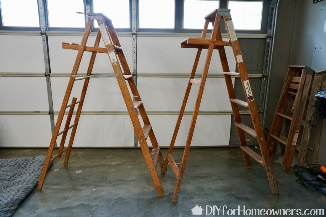 You'll need two ladders for this diy ladder shelf idea.