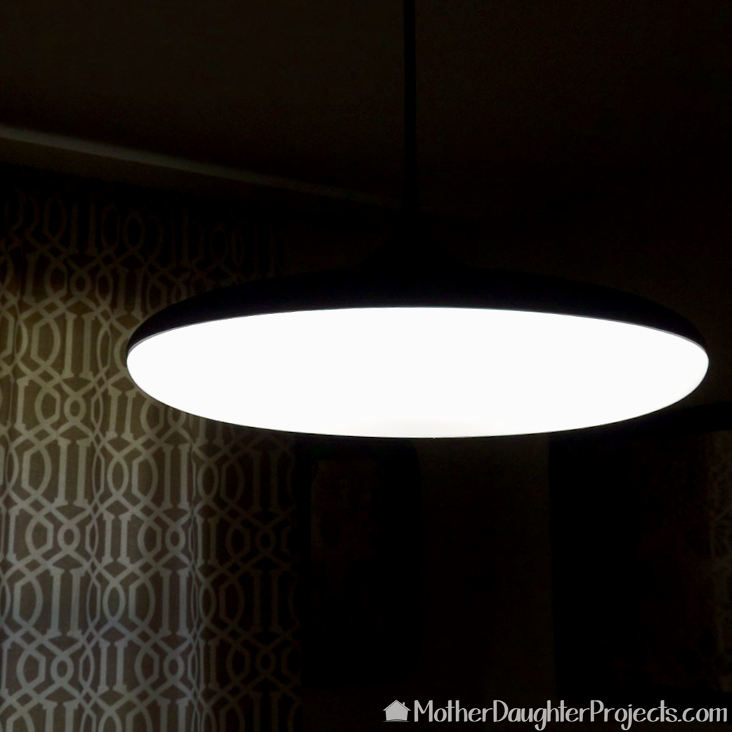 The Philips Hue pendant with bright white light selected.