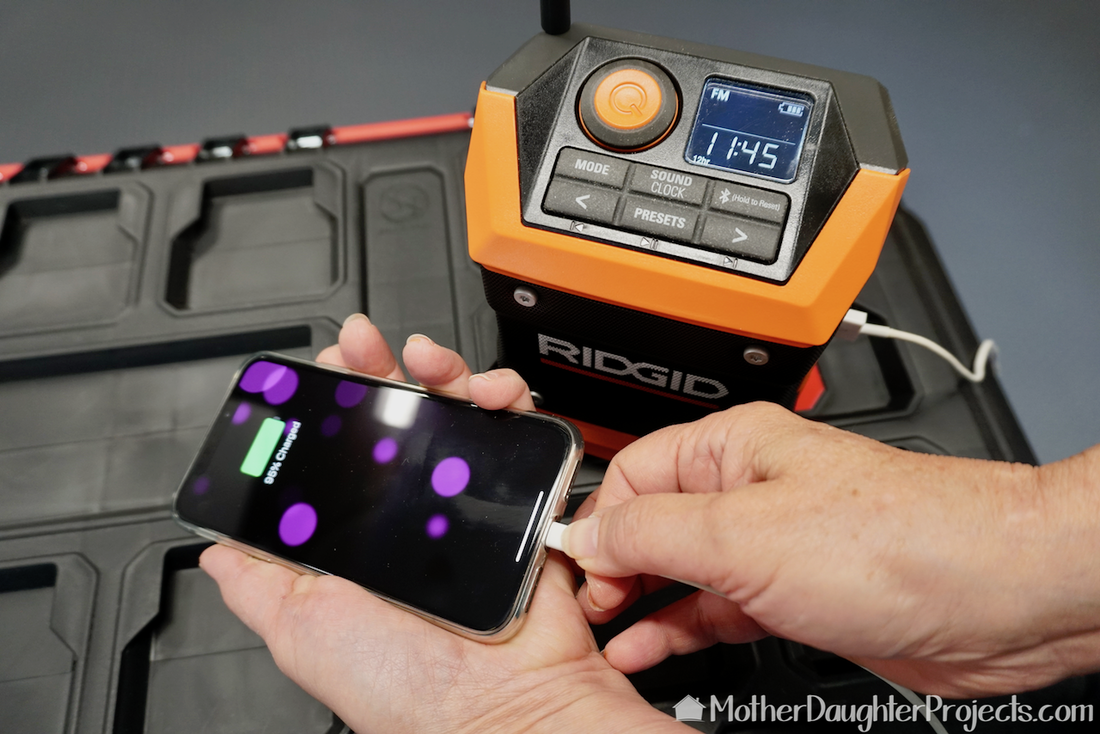 A great feature on the Ridgid radio is the USB port. If you have a charged battery then you can charge your USB devices.