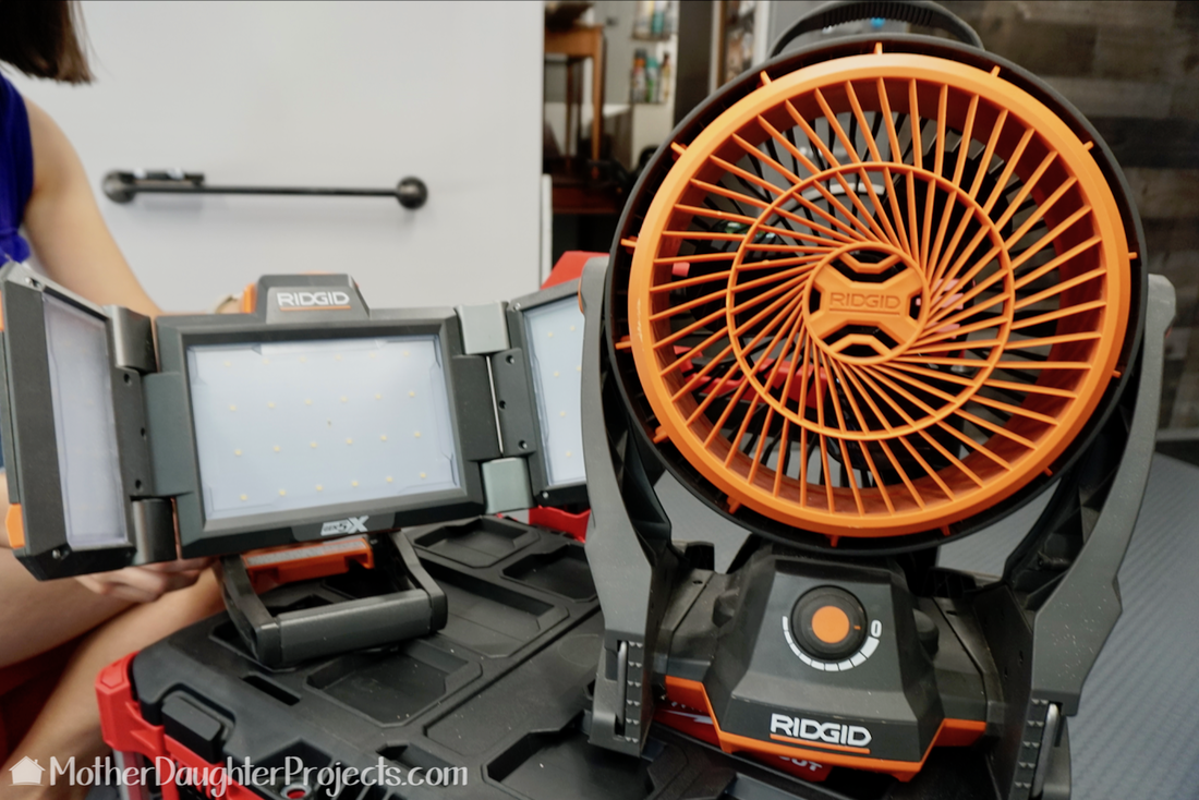 Battery powered Ridgid light and fan.