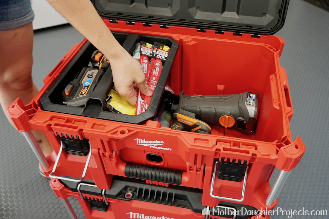 The Milwaukee packout has three spaces for storage of tools and more.