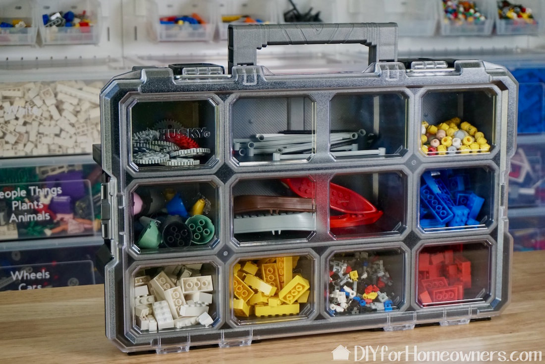Husky 10 compartment small parts organizer are great for on the go Lego building.