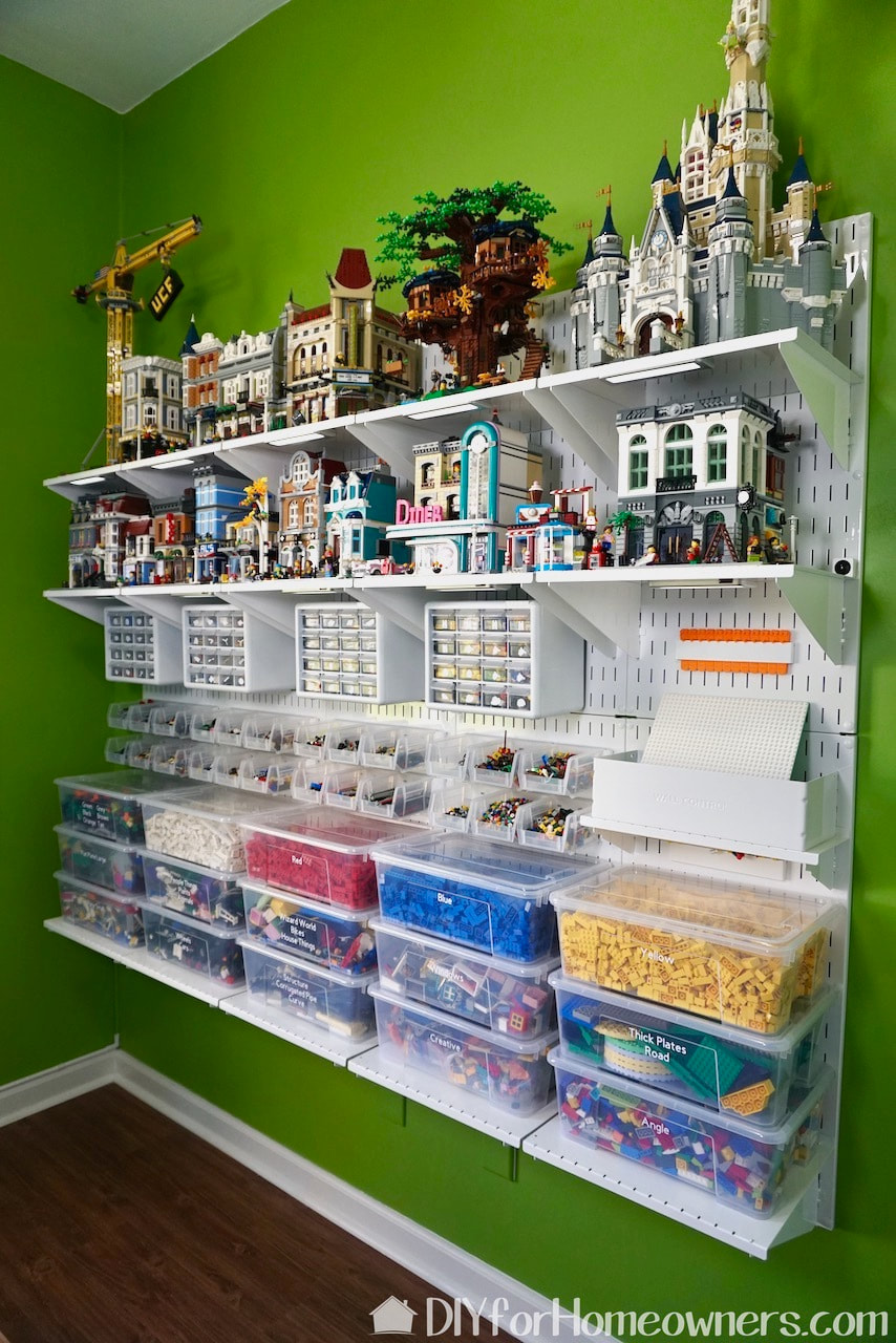 The finished Lego wall is pretty AWESOME!