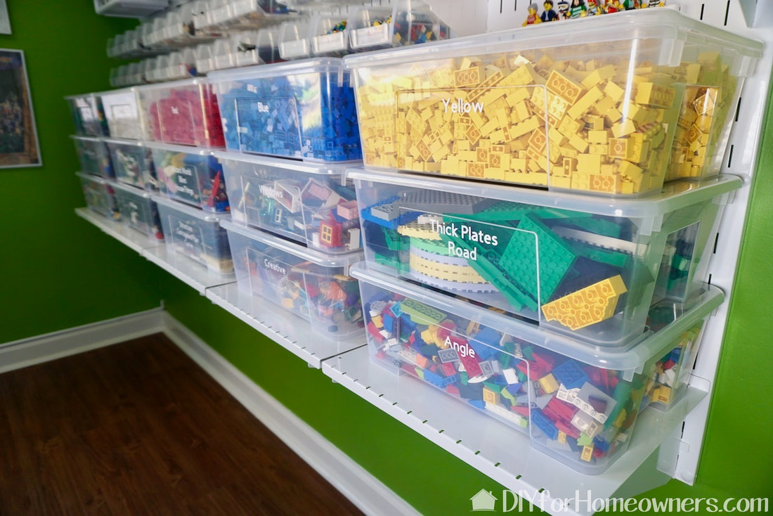 Clear bins make it easy to see the Lego bricks and pieces.