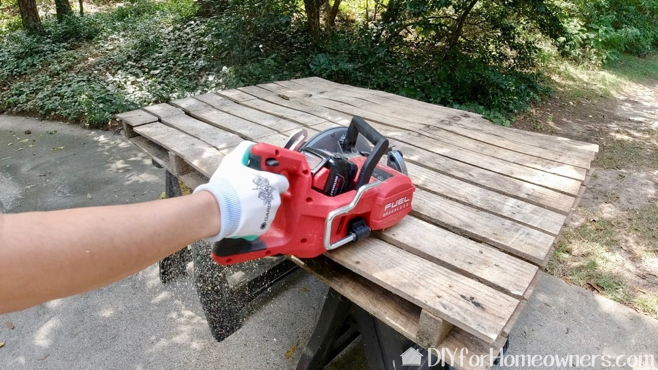 Using the Milwaukee rear handle circular saw.