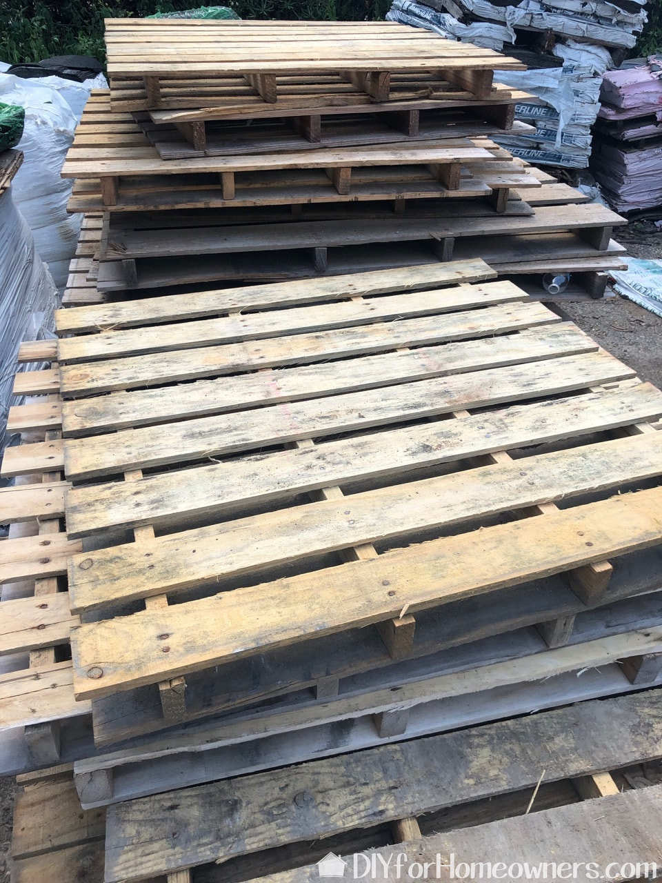 Piles of pallets ready for DIY projects!