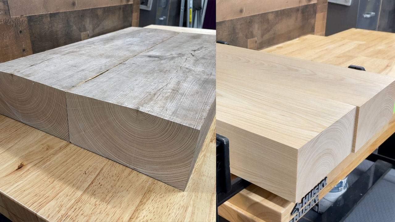 Before and After using a planer and jointer on the wood.