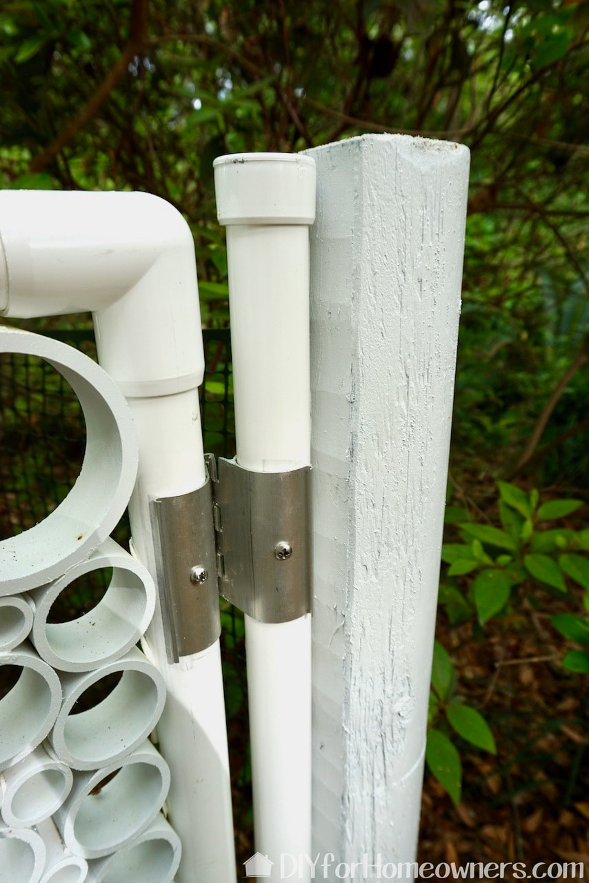 How to make a PVC pipe garden gate with hinges.