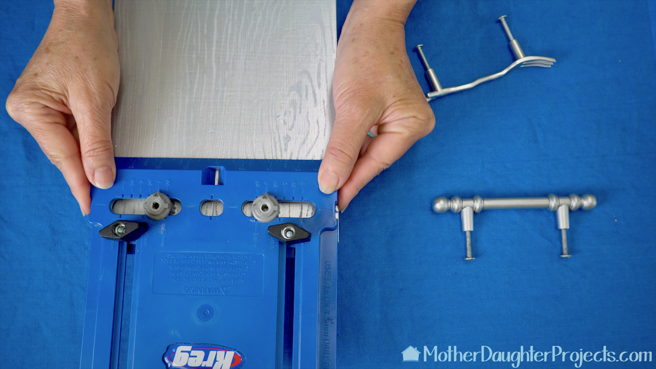 Use the Kreg Hardware Jig to place and drill the holes for the handle.