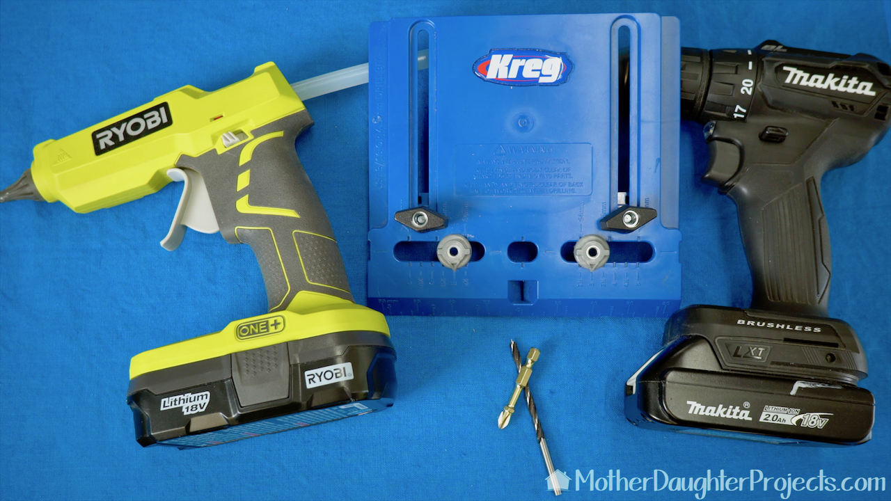 Tools needed are a glue gun, Kreg hardware jig, drill, driver and drill bits.