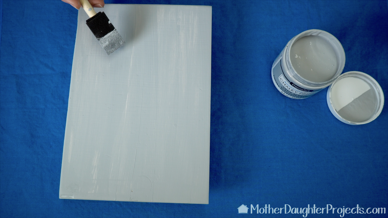 Paint the wood piece with the chalky finish paint.