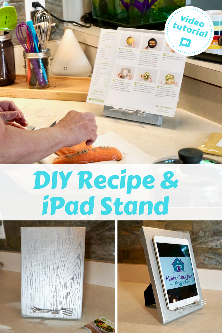 Video tutorial! Learn how to use simple materials to DIY a kitchen recipe and iPad holder! Great for meal delivery service cards like hello fresh.