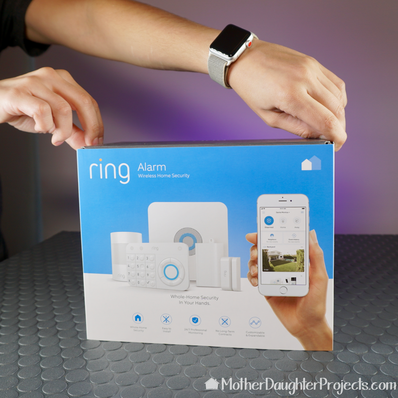 The Ring Alarm kit shown boxed.
