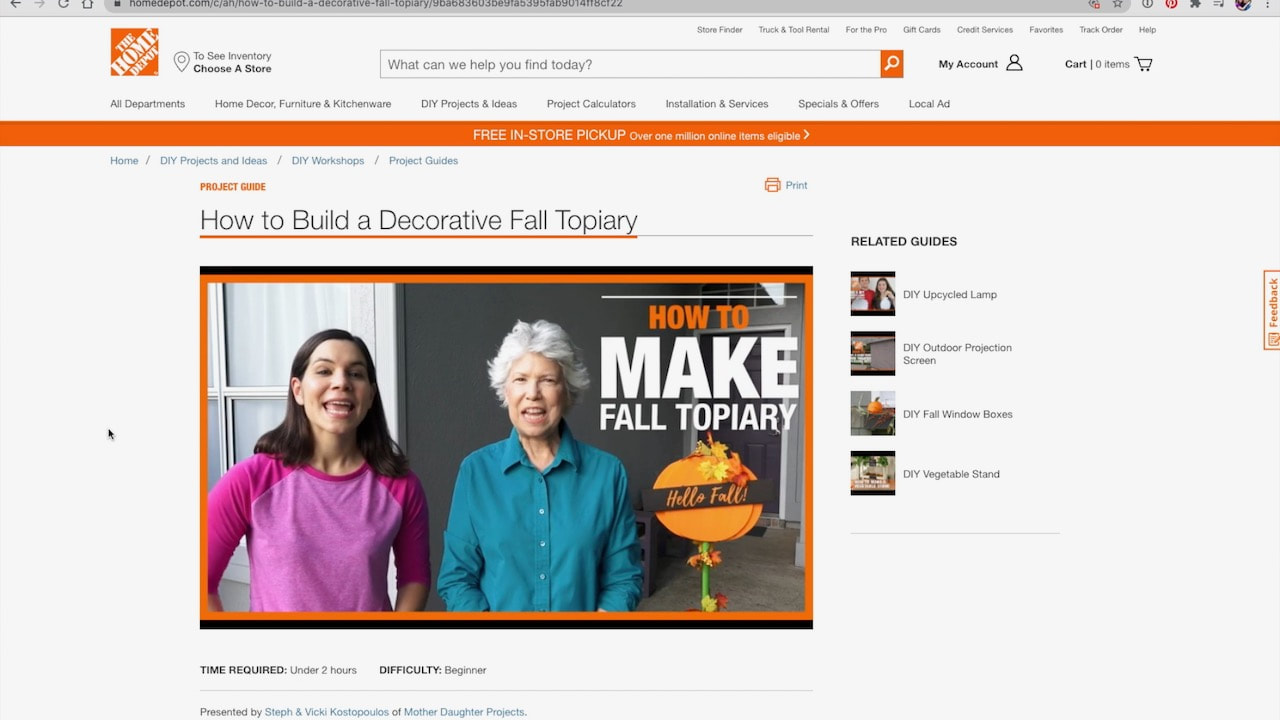 Check out the fall Home Depot on-trend workshop.