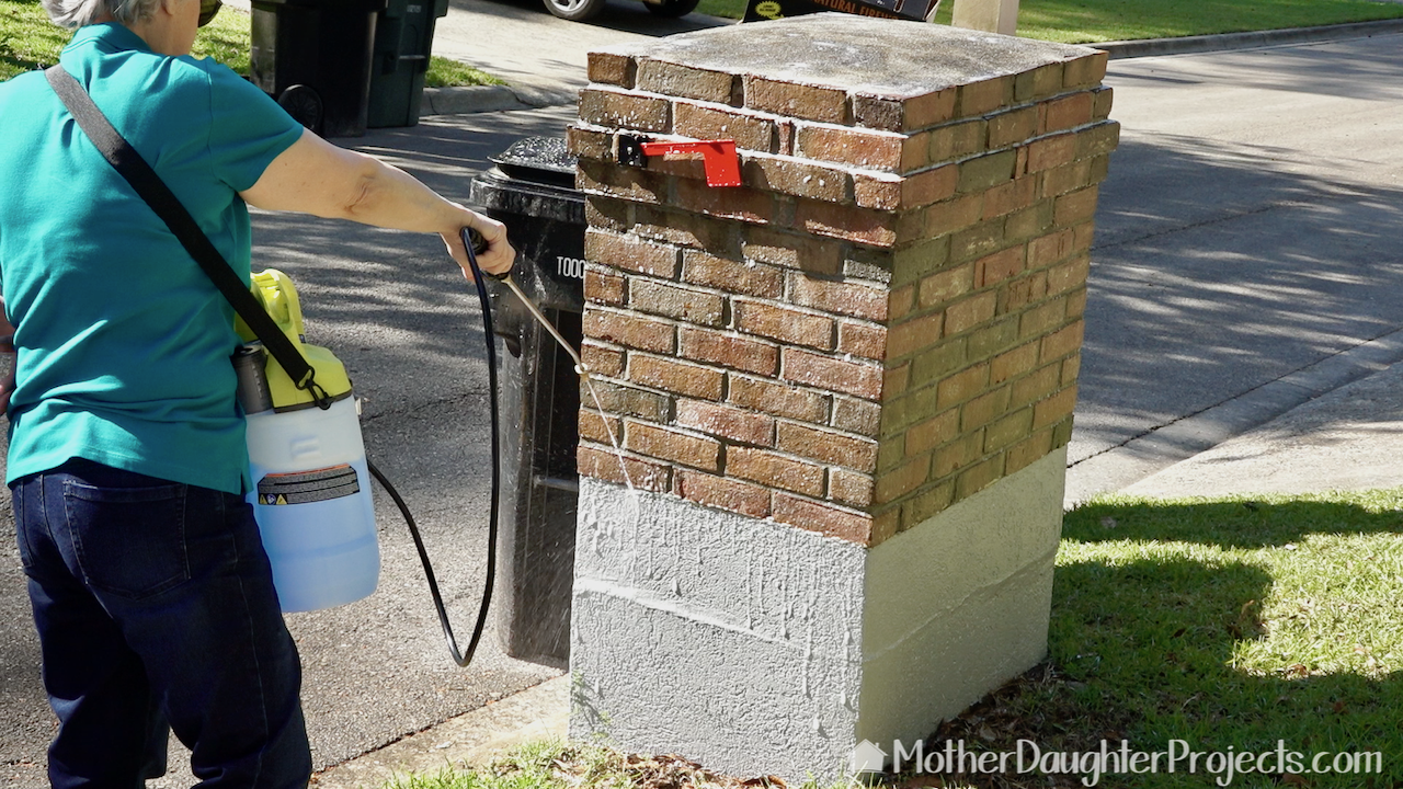 First up is a good spraying of the brick mailbox.