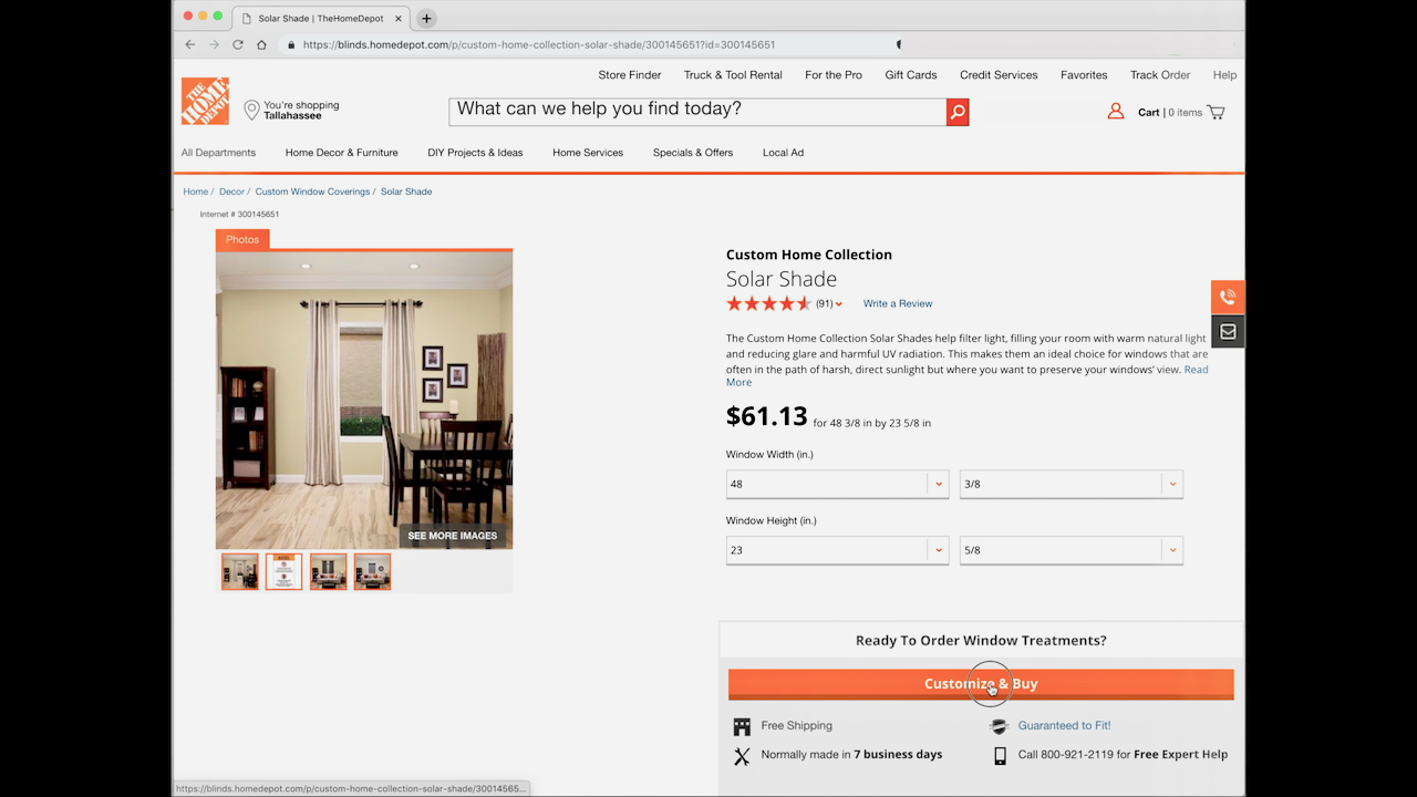 Ordering the solar shade online from The Home Depot's Custom Home Collection.