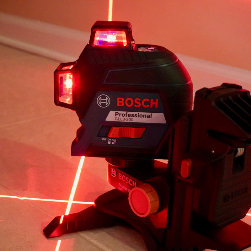 The Bosch 3 plane cross line laser level in action.