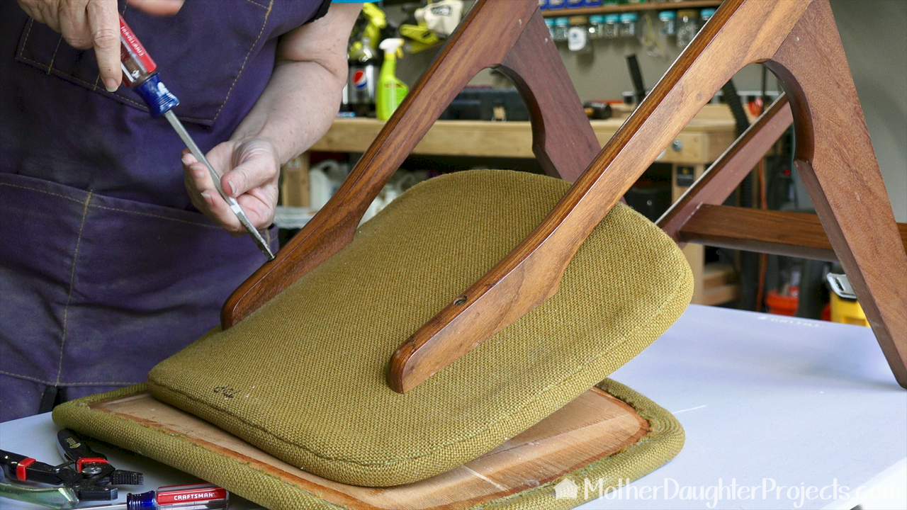 Take a step-by-step look at how to refinish and make over 50+ year old mid century chairs. Learn basic furniture upholstery tips and tricks!