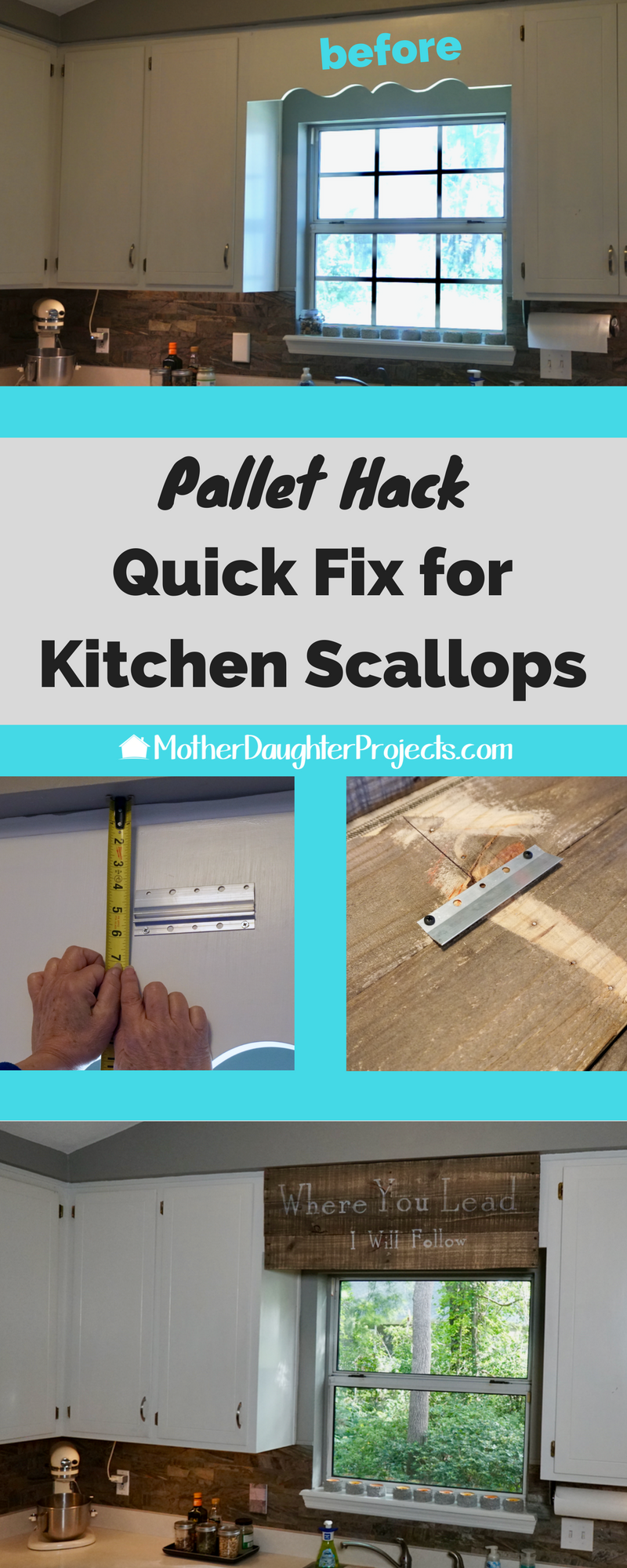 Learn how to DIY a pallet sign to cover or remove the scalloped trim found on many kitchen cabinets. This is a unique window treatment using a pallet hack!