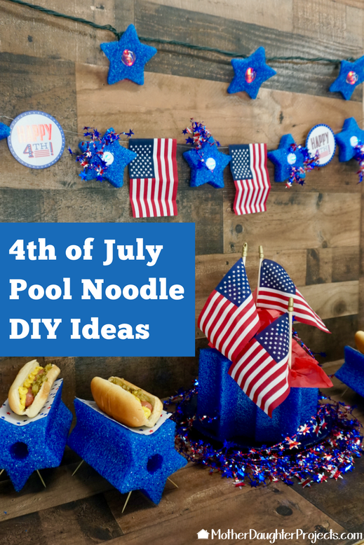 Learn how to take a star pool noodle from target and make 4 different projects, perfect for 4th of July and more! #poolnoodle #diy #decor #fun #holiday